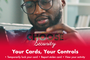 man holding phone and debit card reads choose security your cards your control